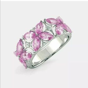 New s925 Silver pink sapphire big statement ring
